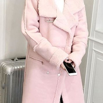 Pink Pockets Zipper Buttons Turndown Collar Long Sleeve Suede Coat