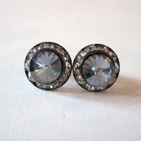 Gunmetal and Blue Shade Swarovski Crystal Stud by KVEdesigns