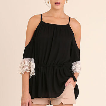 Umgee Black Cold Shoulder Tunic with Lace Trim