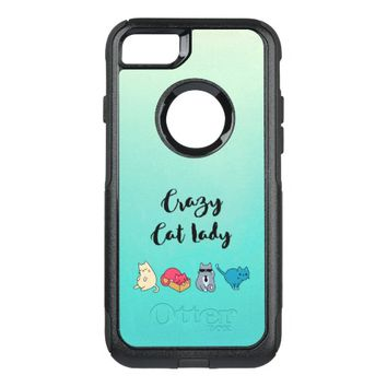 Crazy Cat Lady and 4 Cute Cats OtterBox Commuter iPhone 7 Case