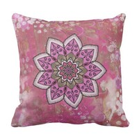Watercolor Art Pink Mandala Throw Pillow