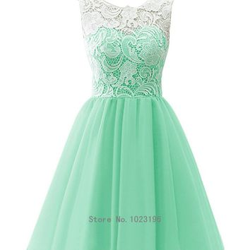 A-line 2015 White Lace Tulle Flower Girl Dress Infant Toddler Kids Dresses Graduation Dress (Infant-14)