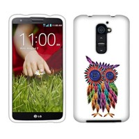 Fincibo (TM) LG Optimus G2 (AT&T, Sprint, T-Mobile Only) D800 D801 D802 LS980 Protector Cover Case Snap On Hard Plastic - Feather Owl, Front And Back