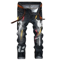 Personality Badge Patchwork Jeans Men Ripped Jeans