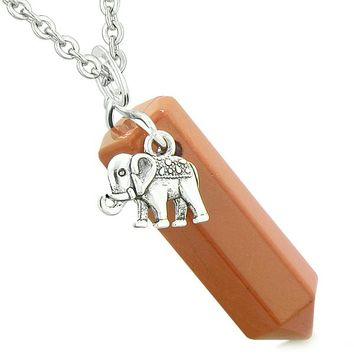 Lucky Elephant Charm Magic Powers Amulet Crystal Point Pendant Red Jasper 18 Inch Necklace