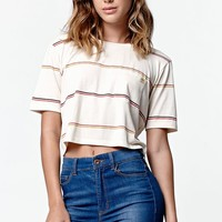 Billabong Sheer Luck Stripe Cropped T-Shirt - Womens Tee - Black