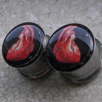 "Human Heart Plugs - One PAIR - Sizes 2g, 0g, 00g, 7/16"", 1/2"", 9/16"", 5/8"", 3/4"", 7/8"", 1"" - Made To Order"