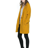 Yellow Double Pocket Coat with Notch Lapel