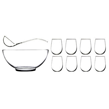Anchor Hocking Presence 10 Pc. Punch Set (bowl, ladle, 8ea 15 oz. Stemless wine glasses)