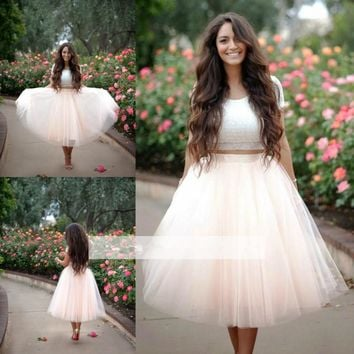 Two Pieces Lace Tulle Homecoming Dress