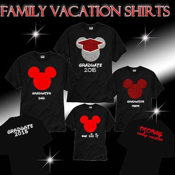Free Shipping Custom Disney Minnie Mickey Family Graduate Shirts, Graduation Shirts Pick your Shirt Color & Sayings