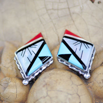 Native American Inlay - Turquoise, Onyx, Red Coral, MOP - Clip Earrings