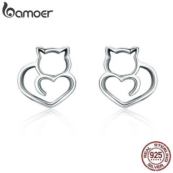 Sterling Silver Cute Cat Small Stud Earrings for Women Fashion Sterling Silver Jewelry