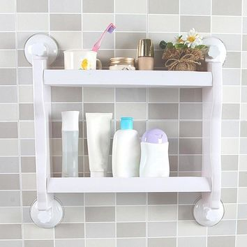 2 Layer Suction Cup Storage Shelf Shampoo Holder Sundries Racks Kitchen Bathroom Organizer