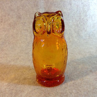 Vintage Amber Pilgrim Glass Owl - Hand Blown Glass from 70's
