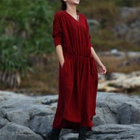 (Customize) Women long sleeve round neck linen maxi dress
