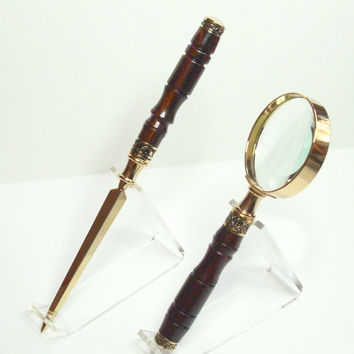 Letter Opener and Magnifier Cocobolo Set