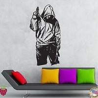 Wall Stickers Vinyl Decal Gangster In Hood With Gun Stree Tough Decor  Unique Gift (z2121)