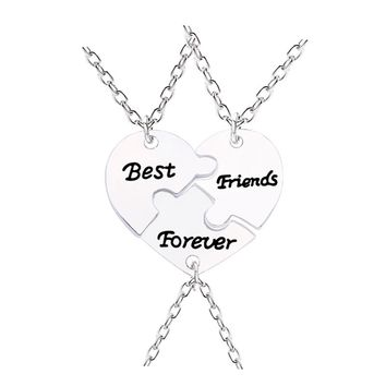 3 Pcs/Set Best Friends Forever Necklaces Peach Borken Heart Necklace Silver Color BFF Pendant&Necklace Jewelry Creative Keepsake