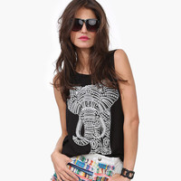 Solid Elephant Print Loose Tank Top