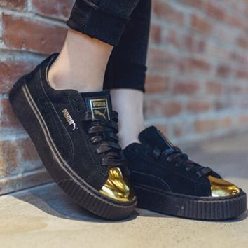 PUMA Suede Platform Shiny golden toe cap Women Casual Running Sport Shoes Sneakers Black