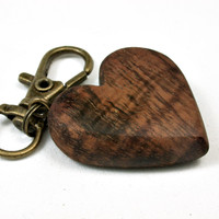 LV-2463 Curly Hawaiian KoaWooden Heart Charm, Keychain, Wedding Favor-Hand Made