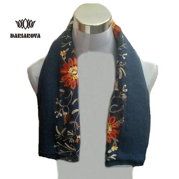 [DARIOROVA]From India New Style Embroidered Scarf Women Warm Winter Female Cotton Shawl Headscarf Flower Embroidery Scarf Tippet