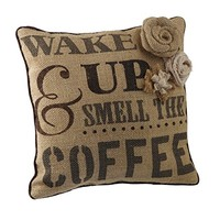 Wake Up & Smell The Coffee - Coffee Sack Burlap Accent Throw Pillow with Floral Embellishments - 12-in x 12-in