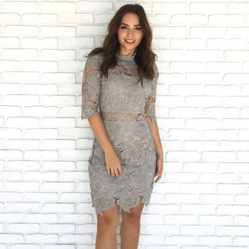 Paradise In Lace Crochet Midi Dress In Silver Lining