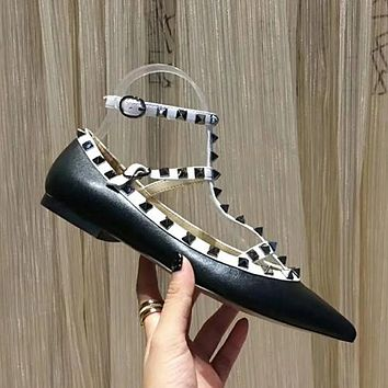 Valentino Rivets Women Fashion Buckle High Heels Shoes