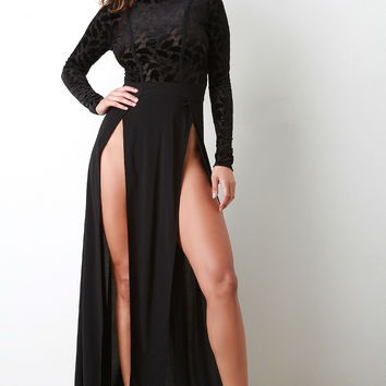 High M-Slit Contrast Maxi Dress