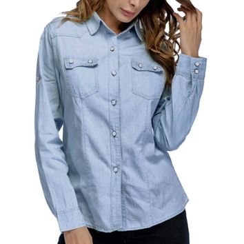 Long Sleeve Women's Denim Shirt