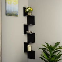 Black Laminate Large Corner Wall Mount Shelf - Walmart.com