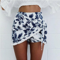 White Floral Print Fringed Wrap Skirt
