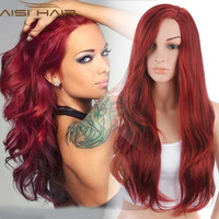 """Synthetic Wigs for Women Red Female Wig Hair Wigs for Women Jenner Women's Wigs 26"""" Long Wavy Curly Hair Style"""