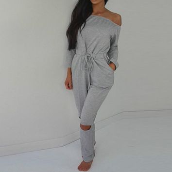 BONJEAN Autumn Winter Sexy Strapless Off Shoulder Jumpsuit Women Long Palazzo Pants Pocket Long Sleeve Jumpsuits Rompers
