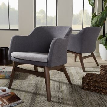 Baxton Studio Vera Mid-Century Modern Two-Tone Grey Fabric Lounge Chair Set of 2