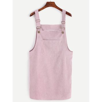 Corduroy Overall Dress With Pocket Pink