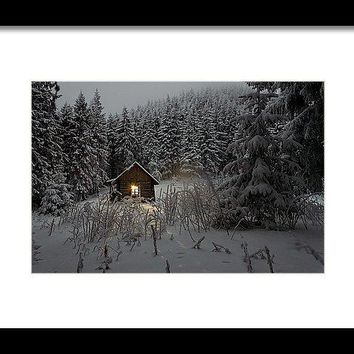 Cabin In Winter - Framed Print