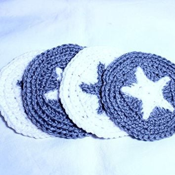 Star Coasters, Silver and White Star Mug Rugs, Crocheted Coasters, Handmade Pentacle Coasters, Furniture Protectors, Handmade Star Coasters Set of 4