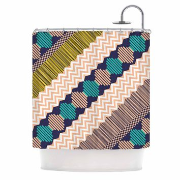"Akwaflorell ""Knitted 3"" Coral Teal Pattern Shower Curtain"