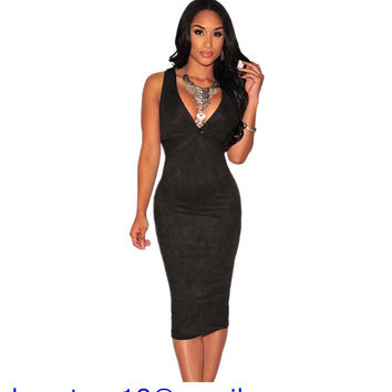 Fashion Casual Backless Midi Dresses White/Black/Orange Sexy Hollow-out V-Neck Faux Suede Knotted Keyhole Dress Women LC60644