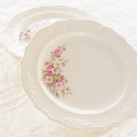Antique Cottage Style Dessert or Salad Plates, Set of 4, French Country, Shabby Chic, Pink Hollyhocks, Tea Party, Cottage Chic, Ca. 1940's