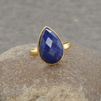 Gemstone Ring, Silver Ring, Blue Lapis Ring, Lapis Lazuli Pear 10x14mm Ring, Gold Plated 925 Silver Ring, Bezel Ring, Solitaire Ring #1094