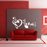 Wall decal decor decals sticker art vnyl design note inscription letter love sound music club bedroom play lounge room (m1229)