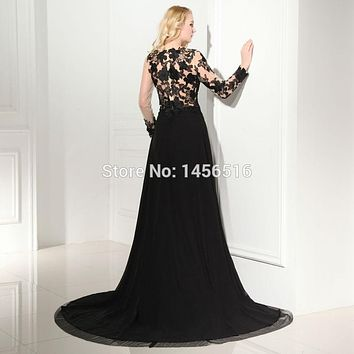Real Photos Black Long Sleeve Evening Dresses scoop neck with High Slit chiffon Formal Dresses