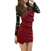Ladies Long Lace Sleeves Scoop Neck Pleated Front Dress