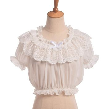 Crop Top : Puff Sleeve Chiffon Crop Top