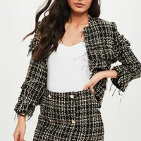 Missguided - Black Boucle Military Mini Skirt