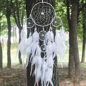New fashion originality big Hot white Dreamcatcher Wind Chimes Indian Style pearl Feather Pendant Dream Catcher Gift